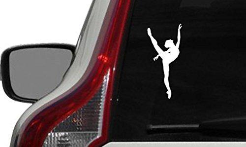 Ballerina Dancer Silhouette Version 14 Car Vinyl Sticker Decal Bumper Sticker for Auto Cars Trucks Windshield Custom Walls Windows Ipad Macbook Laptop and More (WHITE)