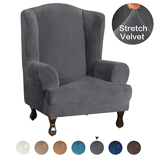 Turquoize Stretch Wingback Chair Cover Form Fit Wing Back Armchair Slipcovers Stretch Velvet Fabric Furniture Slipcover Ultra Soft Plush Sofa Covers 1-Piece Machine Washable, Wing Chair, Gray (Leather Back Chair Wing)