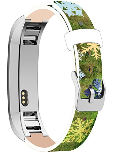 Bands Replacement for Fitbit Alta HR, Cisland Compatible Straps Replacement for Fitbit Alta (HR) Silver Connectors + Abstract Blue Snowflake on Green Grass