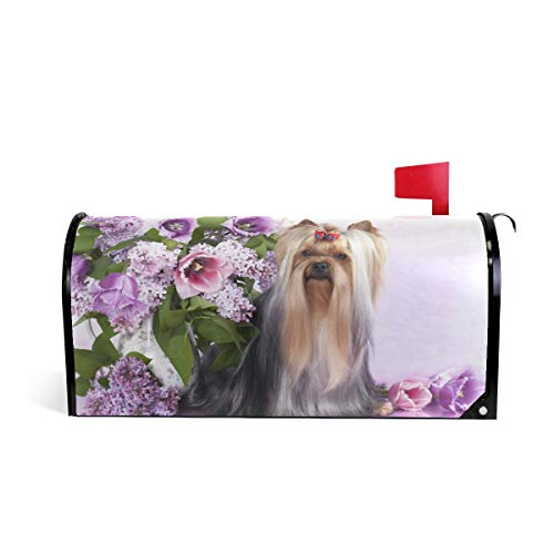 WOOR American Kestrel Yorkshire Terrier and Flowers Spring Magnetic Mailbox Cover Oversized-25.5
