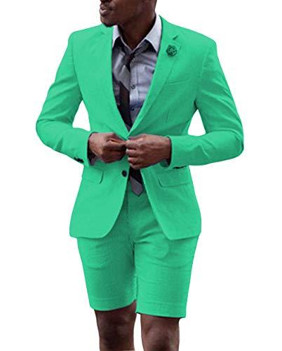 FITTY LELL 남자 정장 짧은 바지와 2 조각 신랑 턱시도 패션 비즈니스 망 여름 착용 정장 세트