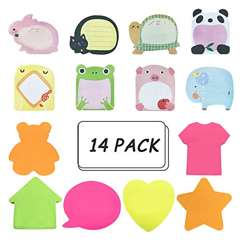 (Sticky Notes, Self-Stick Removable Shaped Sticky Notes - 14 Pads - 100 Sheets 6 Pad Shaped Notes -20 Sheets 8 Pad Animal Notes(14 Pack))