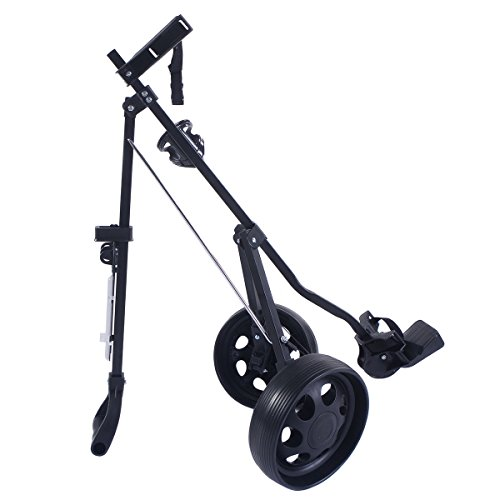 COLIBROX--New Foldable 2 Wheel Push Pull Golf Cart /Cup Holder Trolley Swivel Steel Light. pull carts walmart. costway golf cart. best golf pull carts for sale. golf pull carts amazon. by COLIBROX (Image #5)