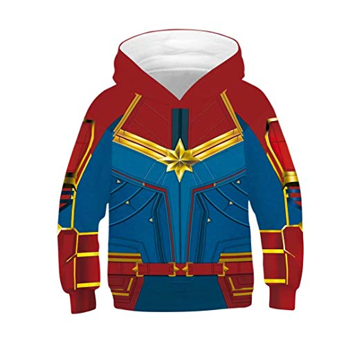 Tsyllyp Carol's Hoodies Toddler Girls Superhero Costume 3D Sweatshirt Hooded ()