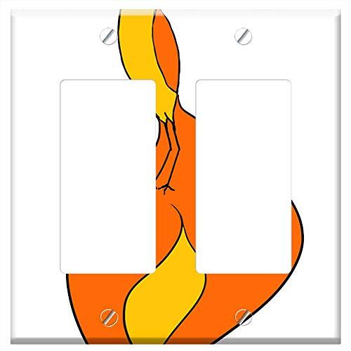 - Switch Plate Double Rocker/GFCI - Phoenix Bird Bird Of Paradise Animal Orange Fiery