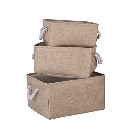 Foldable Home Baskets Bins Clothes Organizer with Handle 3 Pack (Cream)