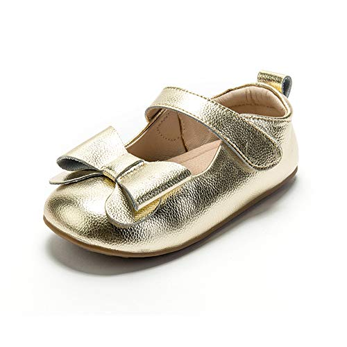 (Itomoro Toddler Ballet Flats Mary Jane Dress Shoes Soft Sole Gold)
