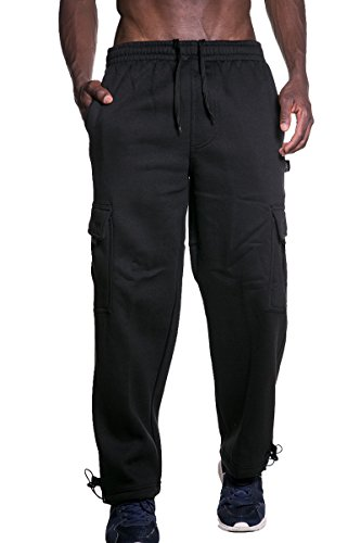 SK Fleece Cargo Sweatpants Heavyweight Long 60/40 S-5xl (2X-Large, Black) - Heavyweight String