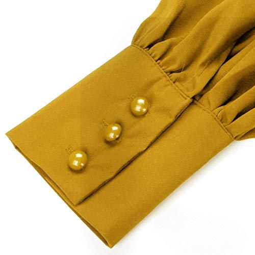 Scollo Top Lunga Chiffon beautyjourney Lunghe v Maniche Donna Maglie Lunghe Maniche Manica Donna Giallo Lunghe Blouse Camicette Lunga T Manica Donna Camicia Elegante Shirt 4TcTBqIn