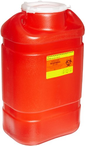 "BD 305491 Multi-Use One-Piece Sharps Collector with Open Top, 10-1/2"" Width x 18"" Height x 7-1/2"" Depth, 5 Gallon Capacity, Red (Case of 8)"