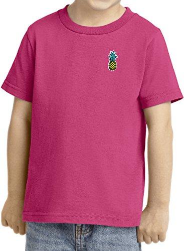 Kids Pineapple Patch Pocket Print Toddler T-shirt, Sangria, 3T