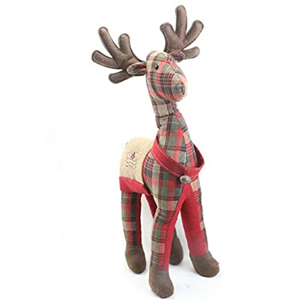 SANTA /& REINDEER Mantelpiece Decoration Fabric Door Stop Christmas