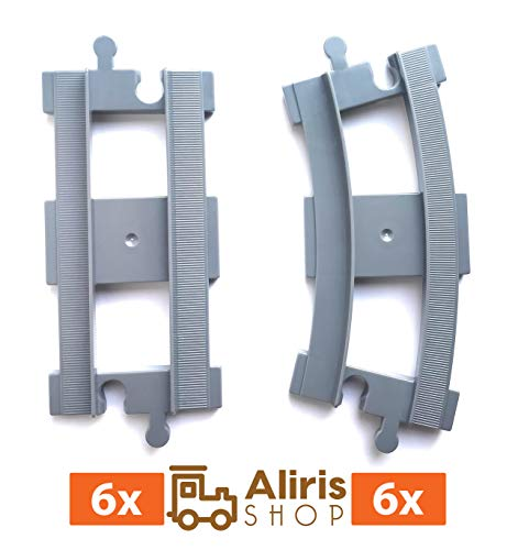 6 Curved Tracks - 6 Straight Tracks - Light Gray - Accessories Compatible with Duplo Train