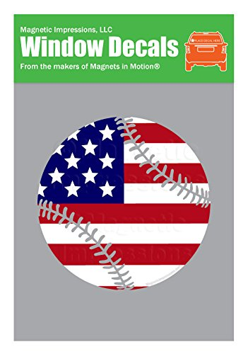 Window Clings Baseball (Baseball Softball USA American Flag Sticker - Vinyl Window Decal)