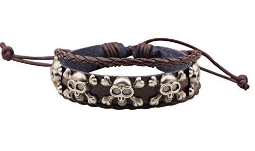 [Veenajo Skulls pirate Multi-strand Brown Leather Bracelet for Men Women Wristband Wrap Bracelet] (Homemade Pirate Costumes Shirt)