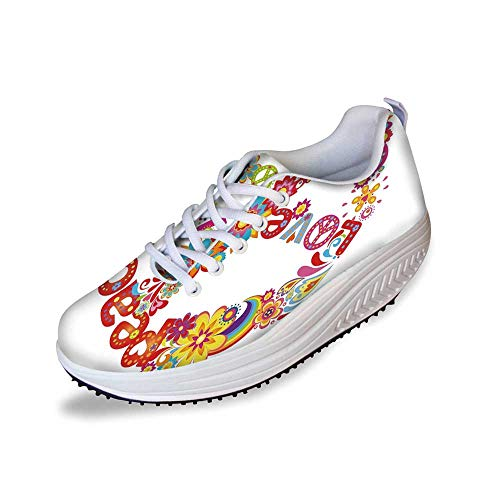 70s Party Decorations Stylish Shake Shoes,Peace Sign Colorful Flowers Rainbows Love and Joy Festive Composition Decorative for Women,5