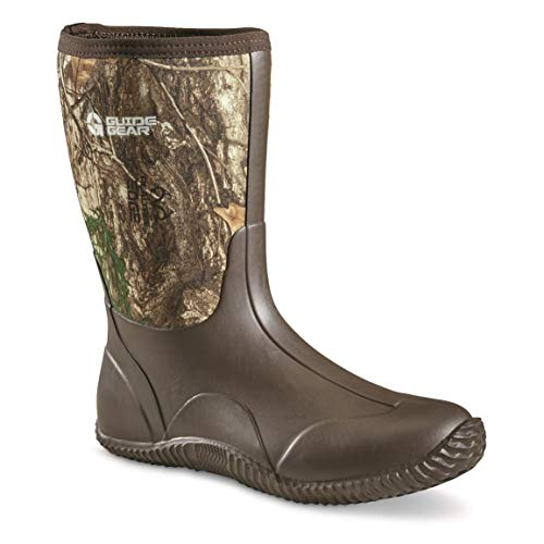 strong Guide Gear Men's Mid Camo Bogger Rubber Boots, Realtree Edge, 11D (Medium)