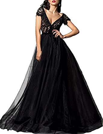 Lafee Bridal Deep V-Neck Lace Prom Dress Sexy Long Evening