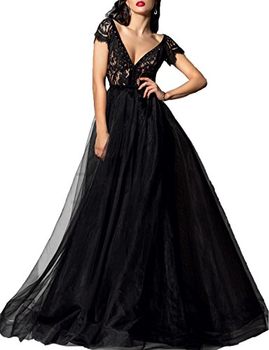 Lafee Bridal Deep V-Neck Lace Prom Dress Sexy Long Evening Ball Gown With Sleeves Black Size 12 (V-neck Ball Gown)