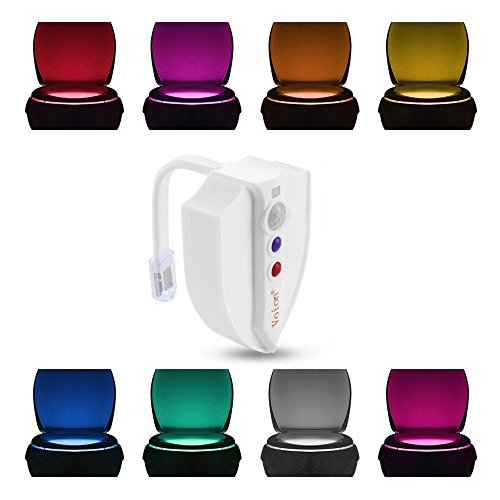 Motion Sensor LED Night Light - Voion 2017 Waterproof Motion Sensor Toilet Night Light with UV-C Light Kills 99.9% of Germs and Viruses - 8 Colors Changing Waterproof Design Last Longer