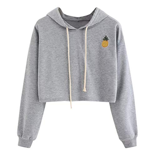 Sunhusing Ladies Fashion Pineapple Applique Short Hooded Sweater Solid Color Drawstring Pullover ()