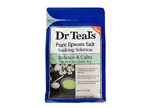 Dr. Teal's Epsom Salt Matcha Green Tea Bath Soaking Solution with Essential Oils - 3 lbs