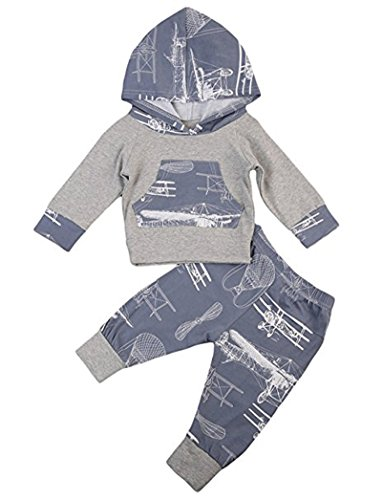 Newborn Kids Baby Boy Girl Cotton Airplane Fire Balloon Pattern Hoodie Tops And Pants 2pc outfits (6-12M, Gray)