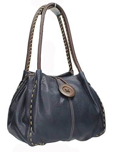 Midas Blue Leather Button Navy Handbag Midas Boutique Detail Faux Boutique rxzHrqa