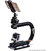 Zeadio Handheld Stabilizer + Universal Smartphone Holder + Triple Hot-shoe Adapter + 360 Degree Swivel Adapter for GoPro Canon, Nikon, Pentax, SONY, Panasonic, Samsung and Olympus Camera Camcorder