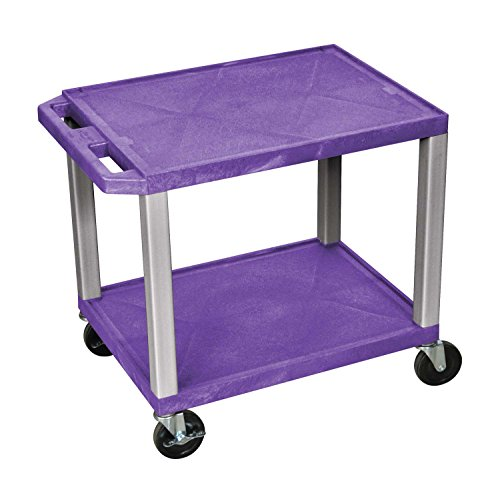 Luxor WT26P-N Purple 26'' Multipurpose A/V Cart with 2 Shelves - Nickel Legs by Luxor