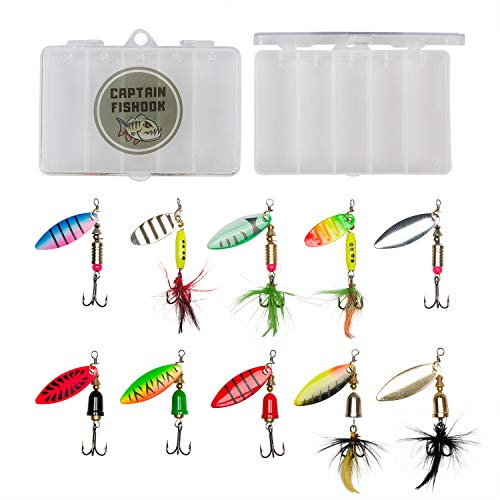 CAPTAIN FISHOOK Fishing Lure Set 10-Piece Fishing Lures Spinnerbait Kit for Fresh and Salty Water - Premium Non-Rust Carbon Hook - Steel Stamped Hand Painted Blades - 2 Tackle Boxes