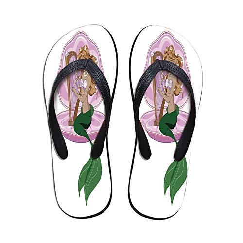 Mermaid Comfortable Flip Flops,Little Mermaid with Blonde Hair Playing Harp Fairy Tale Romance Art Illustration for Pool Garden,US Size 5