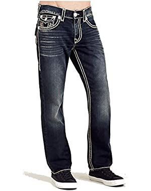 Men's Straight Leg Relaxed Fit Natural Stitch Jeans in Major Wind