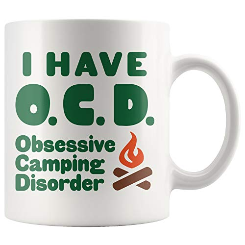 ArtsyMod OCD OBSESSIVE CAMPING DISORDER Premium Coffee Mug, Perfect Funny Gift For Men, Women, Weekend Campers! Durable White Ceramic Mug, 11oz. ()