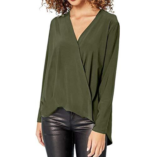 - UONQD Women Blouse Chiffon Solid T-Shirt Office Ladies V-Neck Long Sleeve Top (Medium,Army Green)