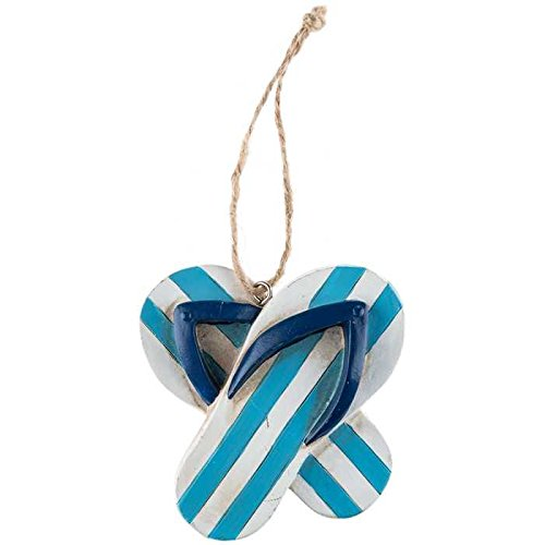 Coconut Grove Galleria Blue White Striped Flip Flops Ornament Resin