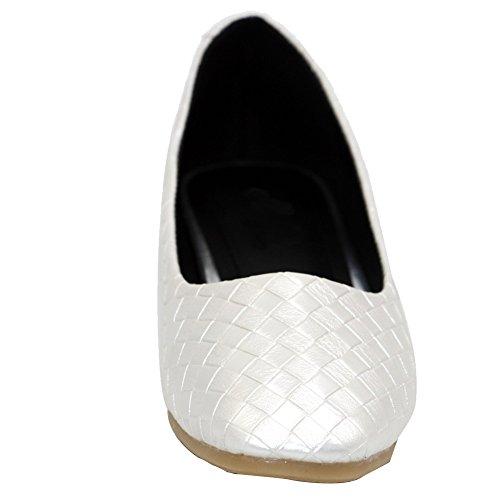 AalarDom Mujer Sin cordones Puntera Cuadrada Material Suave Sintético Plano Blanco