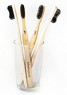 Natural Bamboo Toothbrush with Charcoal Infused Soft BPA Free Nylon Bristles, Individually Numbered, Eco-Friendly, Natural Teeth Whitening - Sustainable & 100% Biodegradable - Pack of 4 for Adults