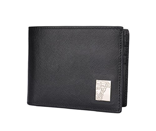 Versace Black Saffiano Leather Wallet With Money Clip by Versace Acc