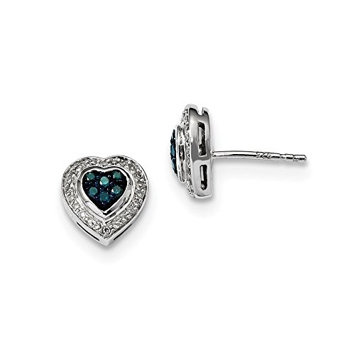 925 Sterling Silver Blue Diamond Small Heart Post Stud Earrings Love Fine Jewelry Gifts For Women For Her