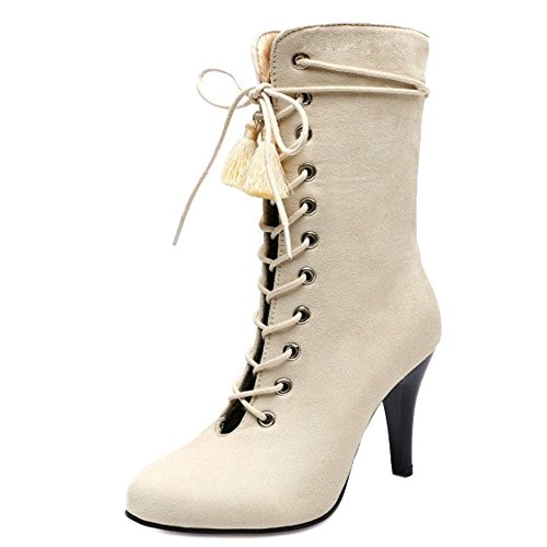 Heel Out up with Available Boots and 5 Sexy Size SJJH and Lace Boots with Women Beige Hollowed Kitten Large Colors 0Ifxw4q