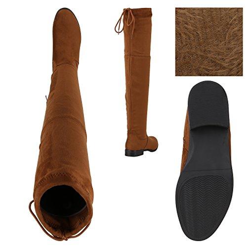 Stiefelparadies Damen Stiefel Overknees Langschaftstiefel Leicht Gefütterte Schuhe Flandell Hellbraun Brown