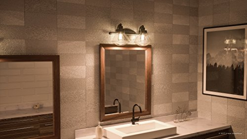 Luxury Transitional Bathroom Vanity Light, Medium Size: 8''H x 17.75''W, with Rustic Style Elements, Oil Rubbed Parisian Bronze Finish and Seeded Schoolhouse Glass, UQL2651 by Urban Ambiance by Urban Ambiance (Image #1)