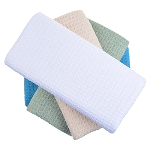 (SINLAND Microfiber Dish Drying Towels Dish Towles Waffle Weave Kitchen Towels Assorted Colors 16Inchx24Inch 4Pack)