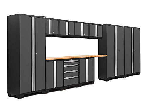 Newage Products 50084 Bold 3 0 Garage Storage Cabinet Set With Bamboo Worktop  12 Piece   Gray