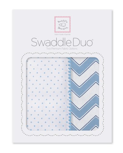 SwaddleDesigns SwaddleDuo, Set of 2 Swaddling Blankets, Cotton Muslin + Premium Cotton Flannel, Blue Classic Chevron Duo Count Flannel Receiving Blankets