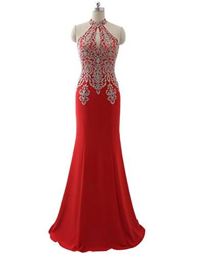 Erosebridal Womens Prom Dresses Long Lace High Neck Evening Gown Sexy Mermaid US 4 Red