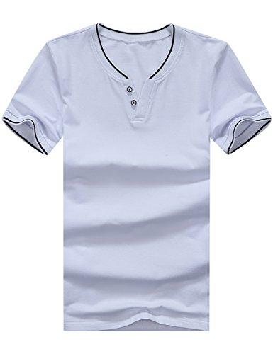 shirt scollo Glestore in corta blanc T manica V uomo con Blanc Tx0904 a a cotone vUnxqd