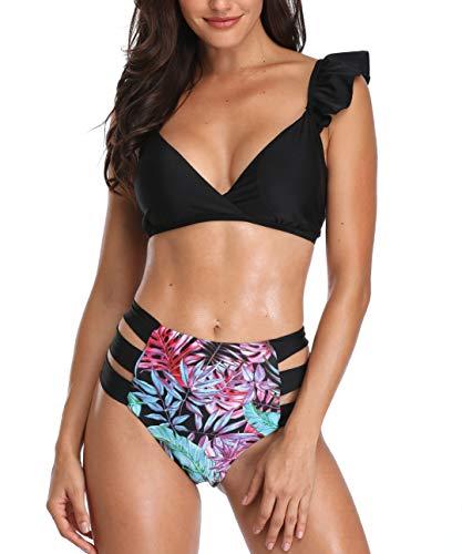 Holipick Women's Ruffles Flounce Cute Bikini Two Piece Swimsuit Bathing Suits Flower XL