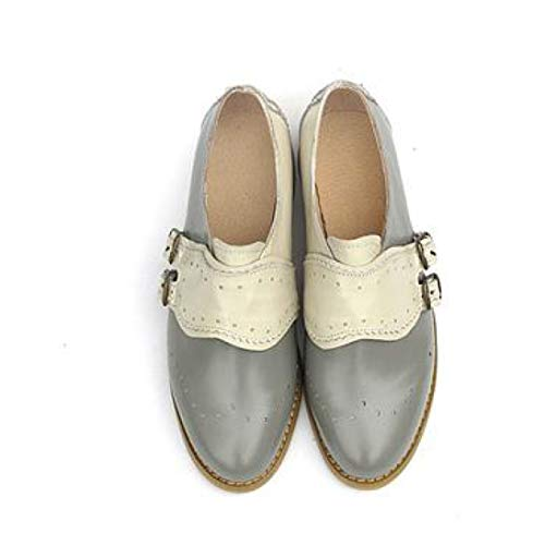 Women's Fashion Perforated Buckle Two Tone Flat Oxfords Brogue Wingtip Slip-on Round Toe Shoes Gray Beige